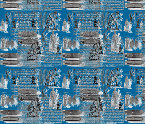 Slavery Toile II-Royal fabric by kkitwana on Spoonflower - custom fabric