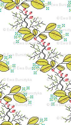 botanical cross stich pattern white