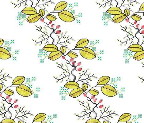 botanical cross stich pattern white fabric by ravynka on Spoonflower - custom fabric