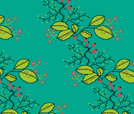 botanical cross stich pattern teal fabric by ravynka on Spoonflower - custom fabric