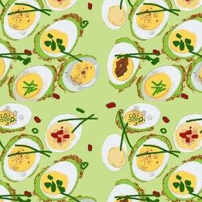 deviled eggs green