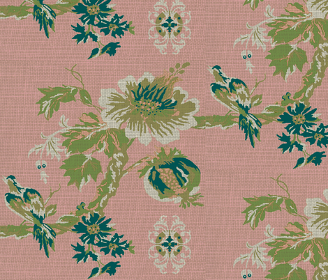 Paradise Blush / burlap print fabric by paragonstudios on Spoonflower - custom fabric