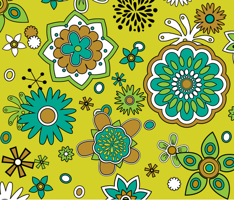 Atomic Blossoms on Yellow fabric by pixeldust on Spoonflower - custom fabric