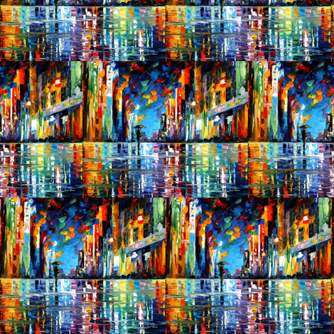 Reflections Of Blue Rain fabric by afremov_designs on Spoonflower - custom fabric