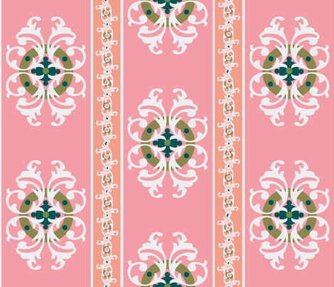 paradise blush /ornate stripe