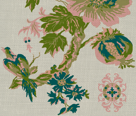 Paradise rococo /burlap fabric by paragonstudios on Spoonflower - custom fabric