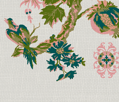 paradise rococo / white burlap fabric by paragonstudios on Spoonflower - custom fabric
