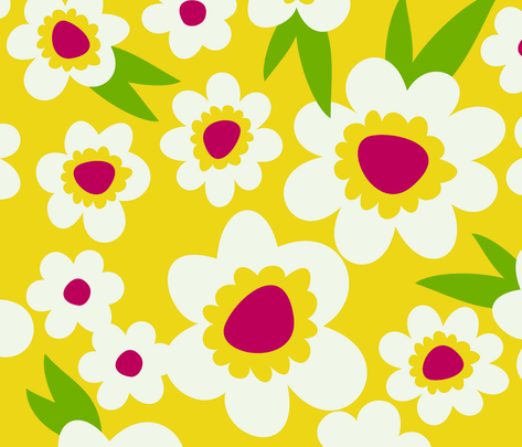 Daisy Pop Yellow fabric by melaniesullivan on Spoonflower - custom fabric