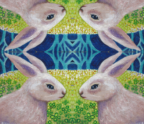 Rabbit_Serious_cropped fabric by artbynancy on Spoonflower - custom fabric