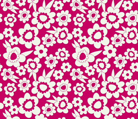 Daisy Pop Mono Pink fabric by melaniesullivan on Spoonflower - custom fabric