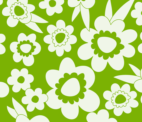Daisy Pop Mono Green fabric by melaniesullivan on Spoonflower - custom fabric