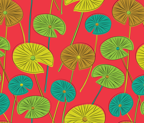 lotus leaves (red) fabric by gracedesign on Spoonflower - custom fabric