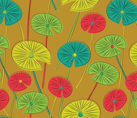 lotus leaves (mustard) fabric by gracedesign on Spoonflower - custom fabric
