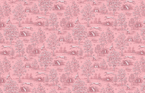 Dark Pink Reverse Greyhound Toile ©2010 by Jane Walker fabric by artbyjanewalker on Spoonflower - custom fabric
