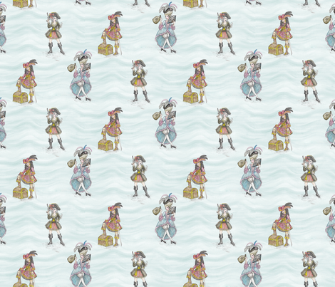 RoCoco Chanel Presents: Fashionable Pirate Girls fabric by jaana on Spoonflower - custom fabric