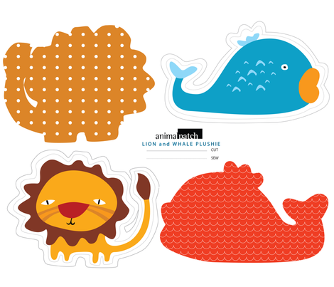 Lion and Whale Plushies fabric by suryasajnani on Spoonflower - custom fabric