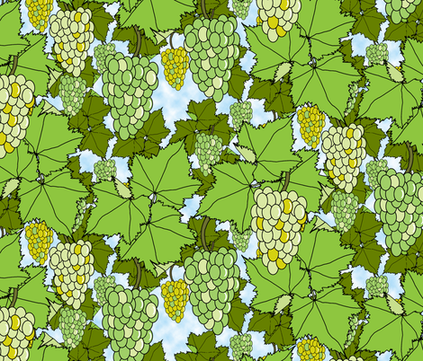Fresh Green Grapes - Day fabric by inscribed_here on Spoonflower - custom fabric