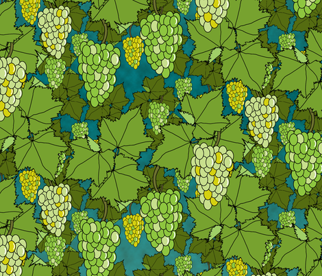 Fresh Green Grapes - Night fabric by inscribed_here on Spoonflower - custom fabric