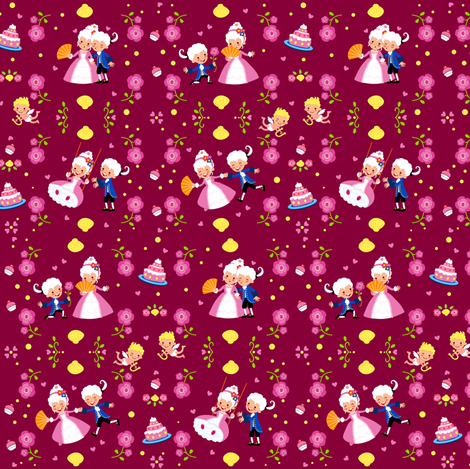 Sweet Rococo (Bordeaux) fabric by irrimiri on Spoonflower - custom fabric