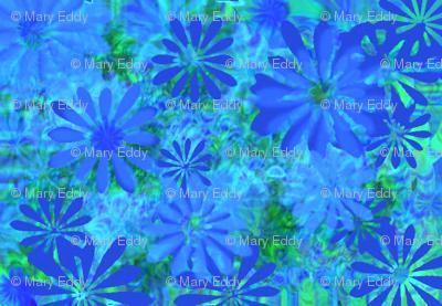 Blue daisy with avacado green
