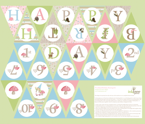 Woodland Birthday Bunting - Pink/Blue fabric by inktreepress on Spoonflower - custom fabric