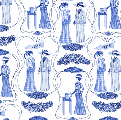 Suffragettes: Giving women a voice fabric by vo_aka_virginiao on Spoonflower - custom fabric