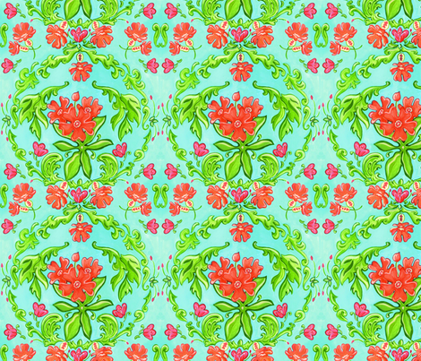 Turquoise Damask fabric by ebm on Spoonflower - custom fabric