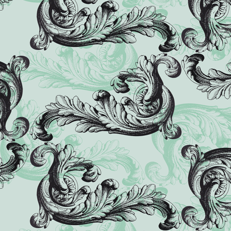rococo mint fabric by ravynka on Spoonflower - custom fabric