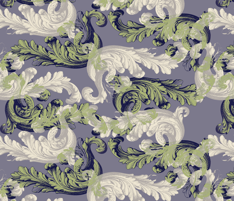 rococo - celadon & pale purple fabric by ravynka on Spoonflower - custom fabric