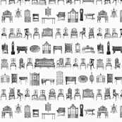 Furniture Lineup in black & white-ed