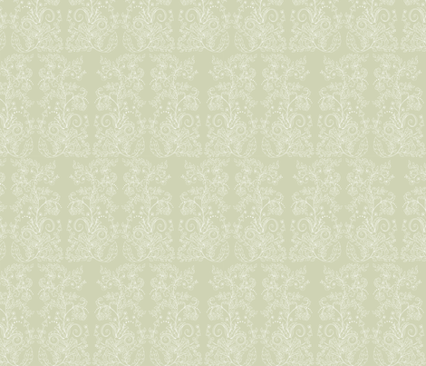 RococoWhite-Sage fabric by leslipepper on Spoonflower - custom fabric