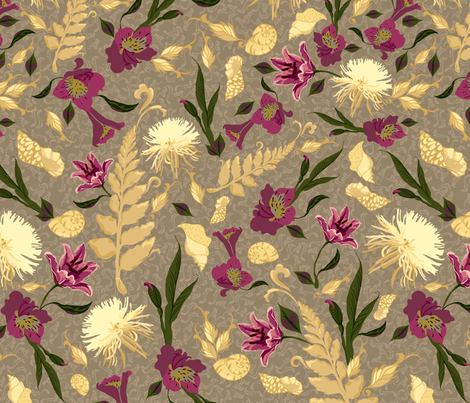 Chrysanthemums & Lilies fabric by marlene_pixley on Spoonflower - custom fabric