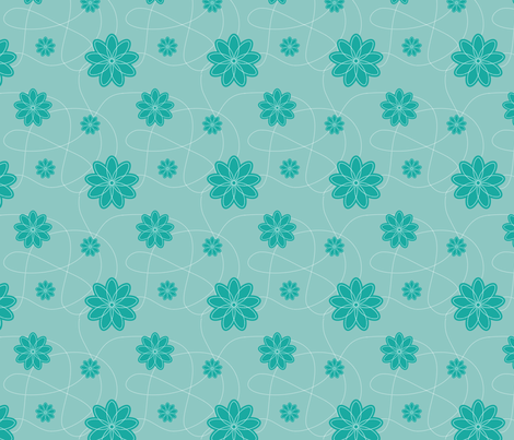 flowers_green fabric by oohoo on Spoonflower - custom fabric