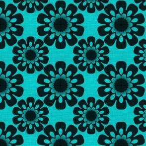 Pen's Turquoise and Black Flowers