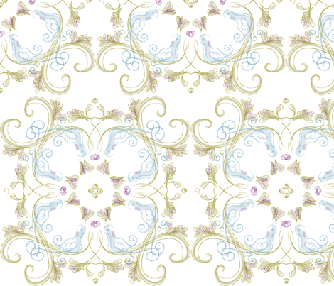Rococo: Isabelle - © Lucinda Wei fabric by lucindawei on Spoonflower - custom fabric