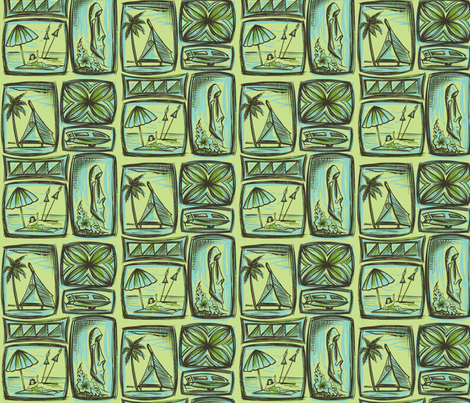 MO_Fabrics  Day, pale green fabric by sophista-tiki_by_dawn_frasier on Spoonflower - custom fabric