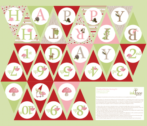 Birthday Bunting - Pink/Red fabric by inktreepress on Spoonflower - custom fabric