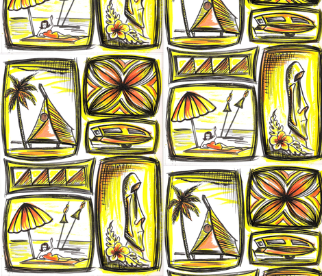 MO_Fabrics_ Day, Yellow fabric by sophista-tiki_by_dawn_frasier on Spoonflower - custom fabric