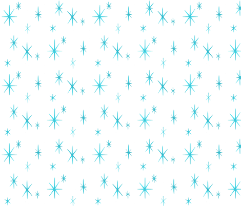 Mixers, Starbursts, turquoise on white fabric by sophista-tiki on Spoonflower - custom fabric