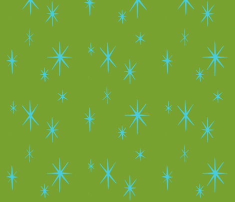 Mixers, Starbursts, aqua on green fabric by sophista-tiki_by_dawn_frasier on Spoonflower - custom fabric