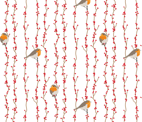Red Birds for KAren fabric by verycherry on Spoonflower - custom fabric