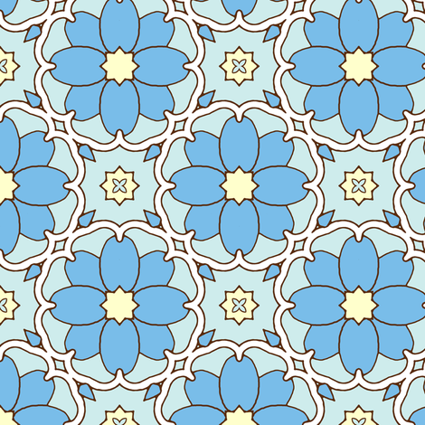 Flowers on the Vine - Cornflower fabric by inscribed_here on Spoonflower - custom fabric