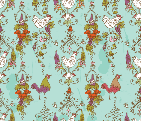 Ro-Coq-Au-Vin fabric by cynthiafrenette on Spoonflower - custom fabric