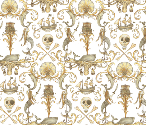 Ro-co-co and a Bottle of Rum fabric by ceanirminger on Spoonflower - custom fabric