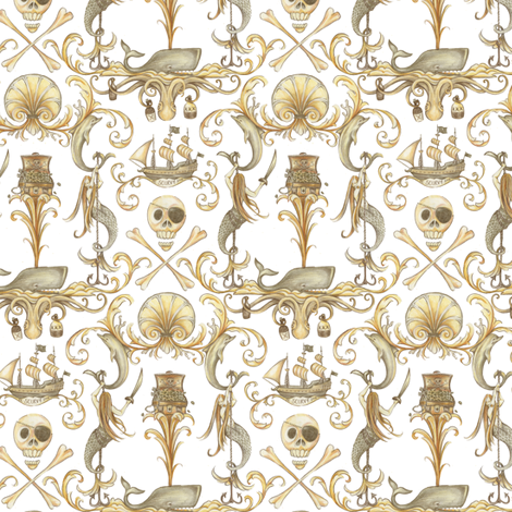 Tiny Rococo and a Bottle of Rum fabric by ceanirminger on Spoonflower - custom fabric