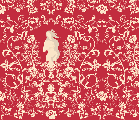 Rococo in Red fabric by greencouchstudio on Spoonflower - custom fabric