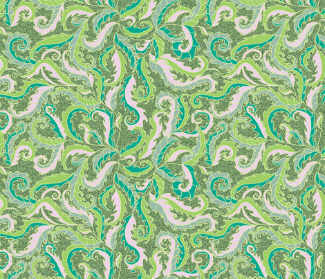 rococo leaves on green fabric by uzumakijo on Spoonflower - custom fabric