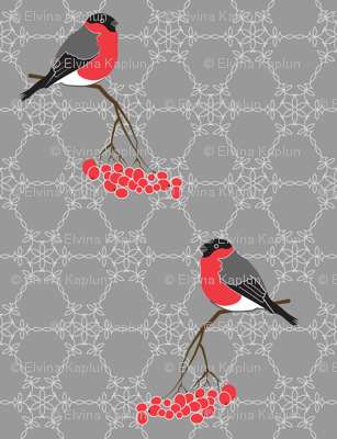 Bullfinches on grey