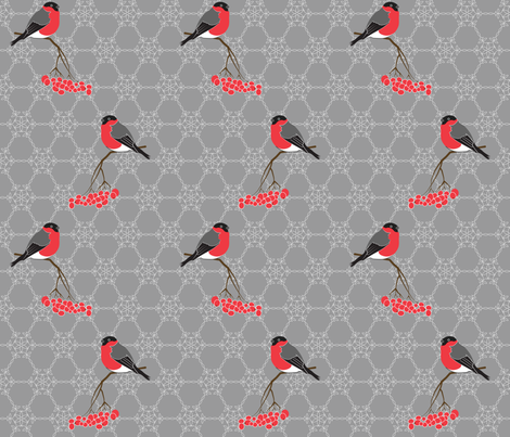 Bullfinches on grey fabric by newmom on Spoonflower - custom fabric