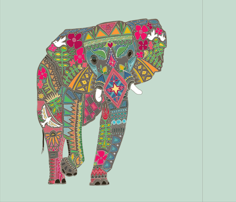 painted elephant mint 18 inch panel fabric by scrummy on Spoonflower - custom fabric